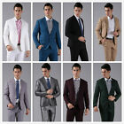 Mens Slim Fit 2 Piece Solid Suit Quality Regular Formal Suit Wedding Prom Party