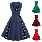 Vintage 50s Swing Polka Dot Pinup Rockabilly A-Line Evening Party Women Dress 1X
