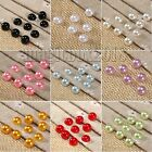 100x 8MM Half Round Pearl Bead Flat Back Scrapbooking Embellishment Craft Button