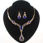 Sapphire Zircon Pendant Gold Plated Crystal Necklace Earring Party Jewelry Set