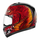 Icon Alliance Red Lucifer Unisex Fullface Motorcycle Riding Street Racing Helmet