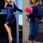 Women's Lady Long Sleeve Velvet Bodycon Evening Party Cocktail Lace Mini Dress