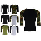 Mens Sport T-Shirt 3/4 Sleeve Compression Activewear Cycling Base Layer Fitness