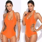Women Sexy Halter Padded Hollow Out One Piece Swimsuit Swimwear TXST