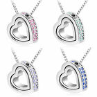 Pendant Women Heart Rhinestone Stitched Elegant Chic Light Silver Necklace+Chain