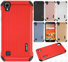 For LG X Style L56VL L53BG Rubber IMPACT CO HYBRID Case Skin Cover +Screen Guard