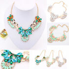 Elegant Women lady Flower Statement Crystal Bib Choker Necklace Collar Party