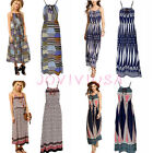 Womens Floral Stripes Boho Hippie Summer Beach Holiday Maxi Dress Cocktail Party