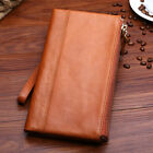 Men's Leather Double Zip Clutch Long Wallet Business Card Holder Purse Checkbook