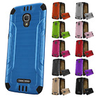 For Alcatel OneTouch Allura Combat Brushed Metal HYBRID Rubber Case Phone Cover