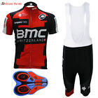 2017 New Cycling Jersey Team Men's Bicycle Short Sleeve BMC white bib shorts