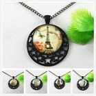 Black Alloy Hollow Star Moon Building Pattern Cameo Necklace Pendant Jewellery