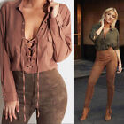 Fashion Sexy Women Deep V Neck Casual Long Sleeve Lace-up Crop Tops Blouse Shirt
