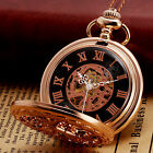 Luxury Rose Gold Full Hunter Skeleton Chain Mechanical Mens Classic Pocket Watch