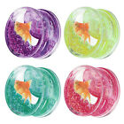 Liquid Glitter Ohr Flesh Tunnel Plug Piercing Double Flared Neon mit Fisch