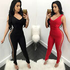 Women Lace Up Pants Plunge Neck Bodycon Lady Long Trousers Sleeveless Jumpsuits