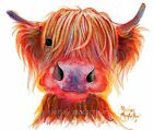 HIGHLAND COW PRINTS ART of Original Painting CHILLI CHOPS by SHIRLEY MACARTHUR