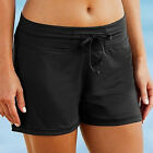 Women Full Coverage Swim Shorts Solid Color Drawstring Swimwear Stretchy S-3XL F