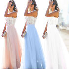 Long Chiffon Lace Evening Formal Party Ball Gown Prom Bridesmaid Dress Size 6~16
