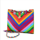 Fashion Women New Rainbow Handbag Shoulder Tote Purse Satchel Hobo Stripe Bag