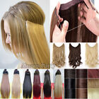 "20"" Invisible Wire Hairpiece Secret Long Wavy Straight Hair Extensions Brown T66"