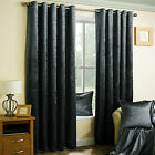 GRAPHITE CRUSHED VELVET PAIR METALLIC EYELET RING TOP READY MADE LINED CURTAINS