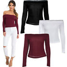 Women Off-Shoulder Cotton Skinny Slim Fit Long Sleeve Blouse Top Casual Clubwear