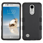 For LG Phoenix 3 Rubber IMPACT TUFF HYBRID Hard Case Skin Phone Cover Accessory