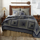 NEW 3pc VHC Brands Columbus Blue Patch Quilted Bedding Set - Quilt + 2 Shams