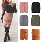 Uk Women Suede Leather A-line High Waist Lace Up Pocket Party Short Skirt Dress