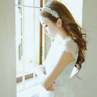 Wedding Lady Girl Rhinestone Crystal White applique Ribbon Headband Headpiece CA