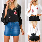 Plus Size Women Ladies Casual V Neck Blouse Floral Embroidery Shirt Tops T-shirt