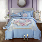 Floral Duvet Quilt Doona Cover Set Queen/King Size Sheet Set Long-Staple Cotton