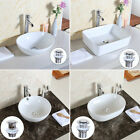 White Modern Bathroom Top Ceramic Vessel Sink Bowl Basin Combo with POP UP WASTE