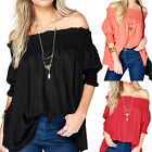 Summer Boho Women Ruffle Sleeve Off Shoulder Tops Shirt Blouse Casual Sz S-XL