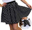 POLKA DOT SKIRT & SCARF BLACK WITH WHITE DOTS ROCK N ROLL FANCY DRESS COSTUME