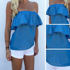 Women's Ladies Off Shoulder Ruffle Shirt Tops Summer Club Blouse Denim Look New