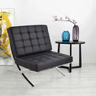 Barcelona Style PU leather Pavilion Chair Steel Frame Chaise Lounge Modern US