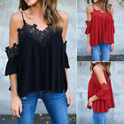 Ladies Cold Shoulder Loose T Shirt Tops Womens 3 / 4 Sleeve Casual V Neck Blouse