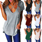 Hot! Womens Distressed Ripped Holes Plain Cap Sleeve Loose Fit Basic T-Shirt Top
