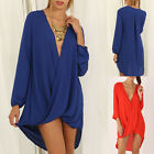 2017 Womens Casual Long Sleeve V-Neck Loose T Shirt Top Blouse Shirt Dress S-XL