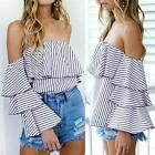 Summer Fashion Women Casual Loose off Shoulder Strapless Blouse T-Shirt Tee Tops