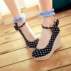 Womens Bowtie Platform Wedge Heel Mary Jane Ankle Strap Polka Dot Pumps Shoes #