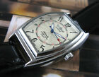 Mens Self Winding Automatic Mechanical Wrist Watch Sport Black Leather Day Date