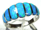 High Quality Blue Fire Opal Inlay Genuine 925 Sterling Silver Band Ring size 6-9