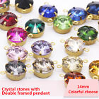 20p 14mm Round Framed Glass Pendants Earrings Findings Connectors 2 Hole Jewelry