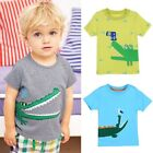Kid Boy Cartoon Print Summer Pure Cotton Short Sleeve T-shirt  Costume Tee Tops