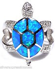 High Quality Blue Fire Opal Inlay Genuine 925 Sterling Silver Turtle Ring Size 6