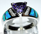 Amethyst & Blue Fire Opal Inlay Solid 925 Sterling Silver Ring size 7