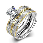Delicate Crystal Cluster Ring Band Ring Double Ring Women Jewelry Size 6 7 8 9